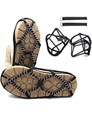 PROZADAHAO Ice Cleats, Crampons Ice Cleats Traction Ice Snow Grips with Safety-Adjustable Nylon Webbing Belt for Women Men Kids Anti Slip Traction Cleats for Hiking, Fishing, Walking, Climbing