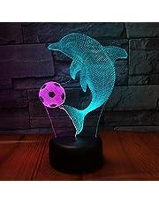 Delfin samochód 3D wizja nocna lampka kreatywna kolorowa ładowanie dotykowe LED stereo światło prezent światło