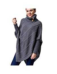 WozWoz Women's Polo Neck Knit Poncho Cape Sweater with Sleeves