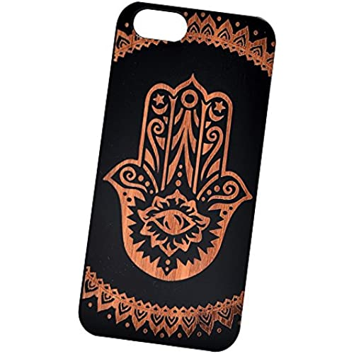 Hamsa Hand Eye Engraved Black Bamboo Cover for iPhone and Samsung phones Wood - Samsung Galaxy s7 Edge Sales