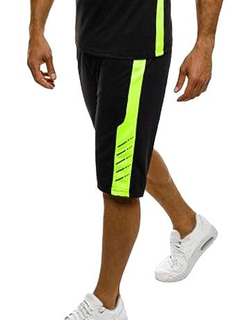 kunfang Hombres Pantalones de Ciclismo Correr Deportivo al Aire Libre  Elástico 3 4 Pantalon Ropa baedb341c2b6