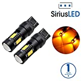 SiriusLED Extremely Bright 35W 2835 Chipset 21 SMD LED Bulbs with Projector for Car Fog Lights Daytime Running DRL Turn Signal Brake Tail Lights 7443 7442 992 T20 Amber Yellow