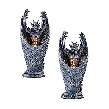 Design Toscano Dark Shadows Gargoyle Sculptural Halloween Lamp: Set of Two