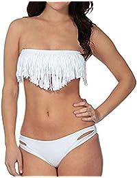 Sexy Lady Padded Athletic Two-Piece Boho Fringe Tassels Swimsuit