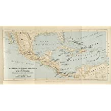 1901 Lithograph Map Mexico Central America West Indies Mexico Gulf Caribbean - Original Lithograph