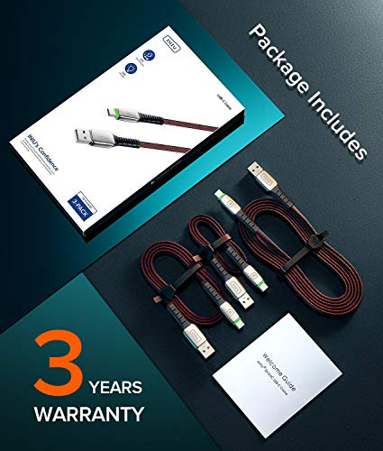 INIU USB C Cable, 【3 Pack】3.1A QC Fast Charging USB Type C Cable, Braided (1.6+3.3+6.6ft) USB-C Phone Charger Cables for Samsung Galaxy S20 S10 S9 S8 Plus Note 10 LG Google Pixel OnePlus Huawei etc