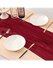 YARGEZON 120 Inches Chiffon Farmhouse Table Runner Wood Grain for Holiday Romantic Wedding Baby Shower Birthday Party Cake Table Christmas Decorations