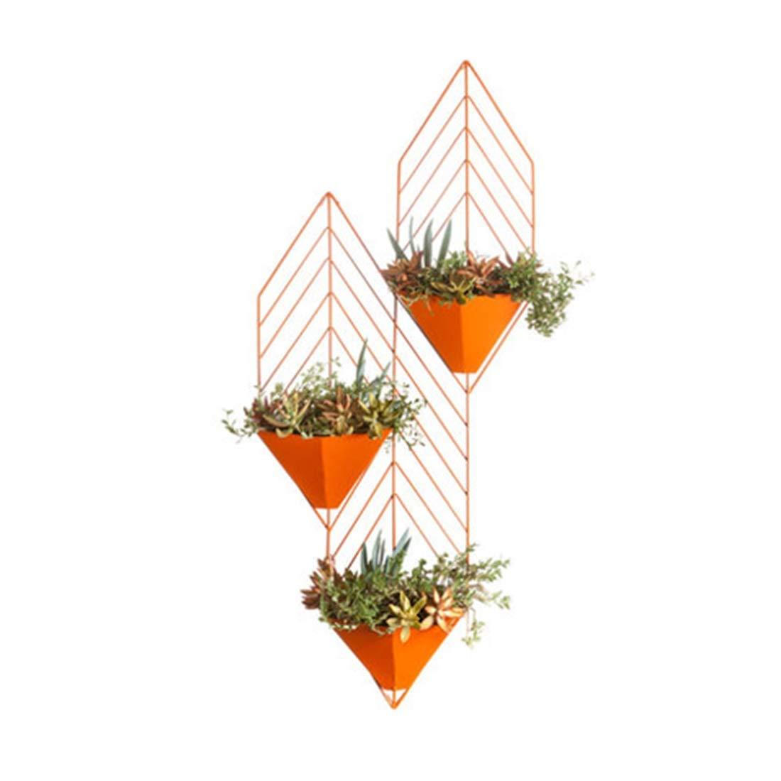 ZHILIAN® Kreative An Der Wand Befestigte Metallschmiedeeisen-Blaumenstandplatz Einfache Europäische Schwarz Orange Rote Familienwohnzimmerschlafzimmer-Multifunktionsgestell ( Farbe   Schwarz) Orange