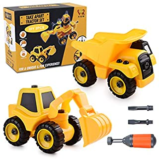 Take Apart Tractor Set Toy for Kids. Detailed Dumper & Excavator of Tough ABS Plastic. 4.3x6.7x2 Safe for Ages 3-7. Ideal for STEM Education, Motor Skills, Autism. Includes Toy Screwdrivers
