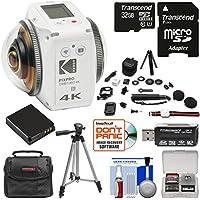 KODAK PIXPRO ORBIT360 VR 4K HD Wi-Fi Video Action Camera Camcorder - Satellite Pack with 32GB Card + Battery + Case + Tripod + Kit