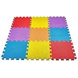 CREATIVE TIME Floor Mat 10-tile Multi-Color Exercise Mat Solid Foam EVA Playmat Kids Safety colors may vary