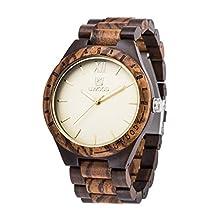 LinTimes Men Wood Watch Wooden Quartz Luminous Pointers Gift Giving Wrist Watch Sandalwood Zebrawood