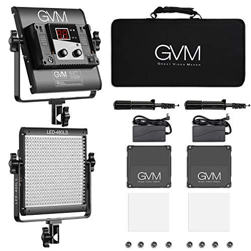 GVM 2 Pack LED Video Lighting Kits with APP Control, Bi-Color Variable 2300K~6800K with Digital Display Brightness of 10~100% for Video Photography, CRI97+ TLCI97 Led Video Light Panel +Barndoor