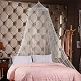 Seacan Dome Lace Canopy Mosquito Bed Netting Princess Curtains Net -Large Queen Size, White,Round - Perfect For Girls, Toddlers & Adults Or Over Baby Crib