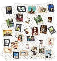 KATLY Prateleira de grade para exibição de fotos, conjunto de molduras grandes para fotos, molduras brancas de