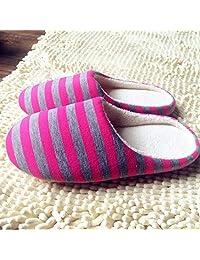 Lamijma Fondo de Tela a Rayas Universal Pareja Amantes Mujeres Hombres Zapatillas de Invierno cálidas Zapatillas de Piso Interior Zapatos Antideslizantes para el hogar