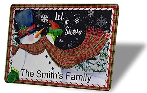 Gxiliru Personalized Christmas Let it Snow Snowman Winter Sign Custom Family Name Metal/Wood Signs Wall Art Decor Plaque Gift Use Indoor/Outdoor