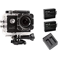 SJCAM Original SJ4000 WiFi Version Full HD 1080P 12MP Diving Bicycle Action Camera 30m Waterproof Car DVR Sports DV with Waterproof Case (Black)+Extra 2 Batteries+Dual Charger