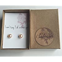Will you be my Bridesmaid gift idea, Pearl earring studs with gift card personalized message, 9mm freshwater pearls with gold filled post