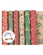 Lemonfilter 12 Pack Christmas Kraft Wrapping Paper 70 x 44.5 cm, Large Sheets Christmas Gift Wrapping Paper with 24pcs DIY Gift Tags and 30m Twine String