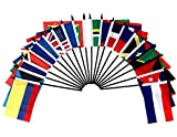 """Caribbean Islands World Flag SET-20 Polyester 4""""x6"""" Flags, One Flag for Each Country in The Caribbean Islands, 4x6 Miniature Desk & Table Flags, Small Mini Stick Flags"""