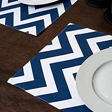 Navy Blue & White Chevron Placemats 4/Pack