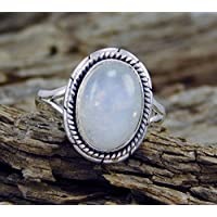 phitak shop Women Mens 925 Silver Huge Moonstone Gemstone Ring Anniversary Bridal Jewelry (8)