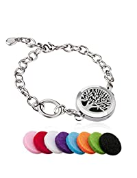 BESTTERN Tree Of Life Aromatherapy Essential Oil Diffuser Bracelet/Hypo-allergenic Surgical Steel Locket Bracelet(25mm)