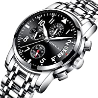CRRJU Men's Fashion Business Quartz Watch with Stainless Steel Mens Chronograph Waterproof Wrist Watches (Silver Black)