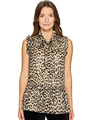 Kate Spade New York Womens Leopard Clipped Dot Top