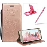 Strap Leather Case for Samsung Galaxy A3 2017 A320,Rose Gold Wallet Flip Case for Samsung Galaxy A3 2017 A320,Herzzer Elegant Classic Solid Color Magnetic Closure Cute Fish Cat Printed Stand Shockproof Card Slots Folio PU Leather Back Case with Soft Silicone