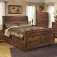 Ashley Timberline Wood Queen Drawer Sleigh Bed in Warm Brown