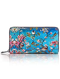 APHISON Women Leather Cortical Zipper Long Wallets Lady Painting Card Clutch Holder Purse