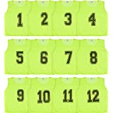 Athllete Set of 12- Scrimmage Vest/Pinnies / Team Practice Jerseys with Free Carry Bag. Sizes for Children, Youth, Adult and Adult XXL (Neon Yellow Numbered, Medium)