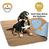 Melliwish Washable Dog Pee Pads - 2 Pack Puppy Pads - Reusable Dog Training Pads - Large Dog Pee Pad (32x36) - Waterproof Wee Wee Pads - Fast Absorbing Whelping Pads - Dog Pads with Anti-Slip Bottom