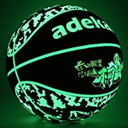 ADEKALE Night Ball Basketball,Noctilucent Ball with Fluorescent Middle Bladder,Glow in The Dark Basketball Cam