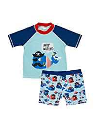 ThreeH Boys Rashguard Set 2 Piece Swimwear Set T-Shirt and Trunks Swmisuit BM05
