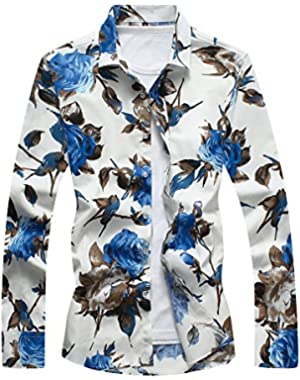 Men's Cotton Shirts Long Sleeve Floral Shirts Casual Button Down Shirts Plus Sizes
