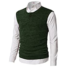 H2H Mens Slim Fit Casual Thin Fabric V-Neck Knit Henley Vest