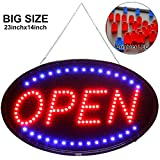 Larger LED Open Sign, 23x14 inches Brighter&Larger Advertising Board Electric Lighted Display -UL-Flashing or Steady Mode- Lighting Up for Holiday, Business, Window, Bar, Hotel, with Open Closed Sign