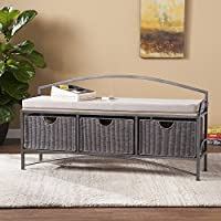 Harper Blvd Shabby Chic Johnson Black Powder Coated Iron Frame Storage Bench Grey Finish