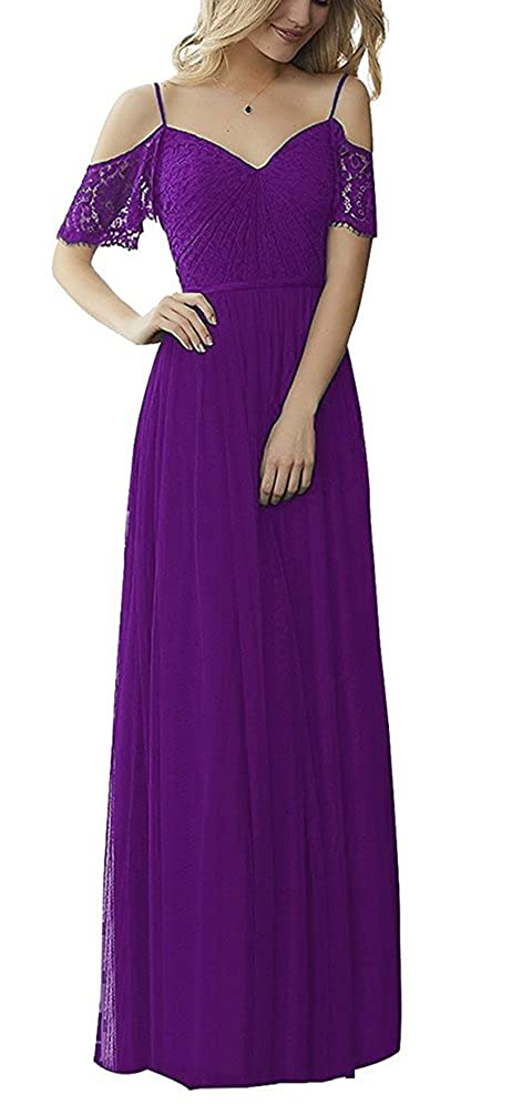Purple tutu.vivi Women's Off Shoulder Tulle Lace Bridesmaid Dresses Long Evening Formal Gowns Short Sleeves