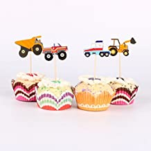 iMagitek 48 Pcs Truck Tractor Excavator Dumpers Car Construction Cupcake Toppers Cake Decorative Picks for Themed Birthday Party