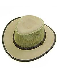 Modestone Crushable BC Hat Australian Leather/Mesh Drover Cowboy Hat Beige