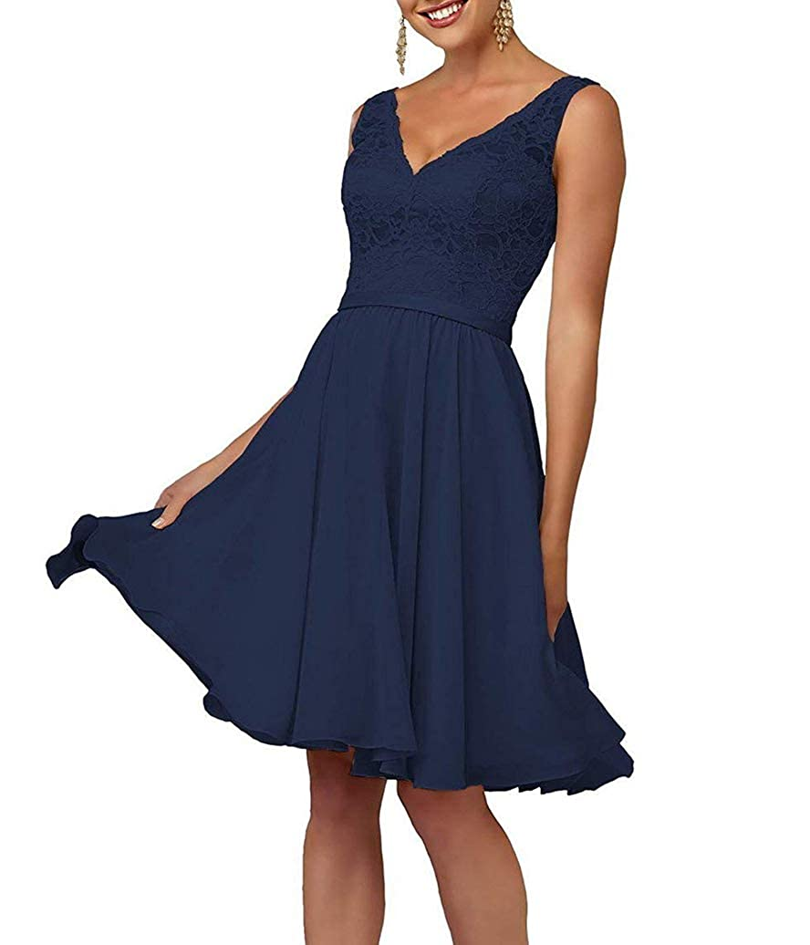 Navy bluee Short VNeck Homecoming Dresses for Women Juniors Party Prom Gown Lace Bodice