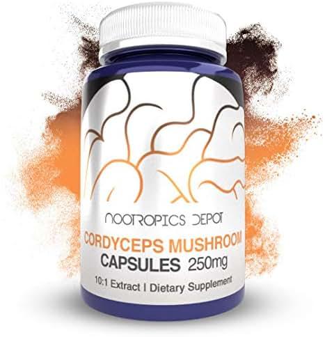 Cordyceps Mushroom Capsules |10:1 Whole Fruiting Body Extract | 250mg | 180 Count | Cordyceps militaris