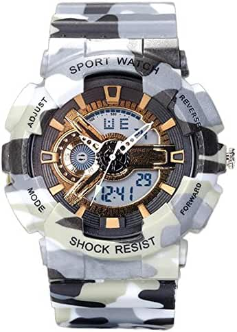 Young Adults Boys Girls Ourdoor Sport Military 50M Waterproof Watches Shock Resist For Hiking Grey+Gold