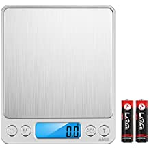 AMIR Digital Kitchen Scale, 3000g 0.01oz/ 0.1g Pocket Cooking Scale, Mini Food Scale, Pro Electronic Jewelry Scale with Back-Lit LCD Display, Tare & PCS Functions, Stainless Steel, Batteries Included