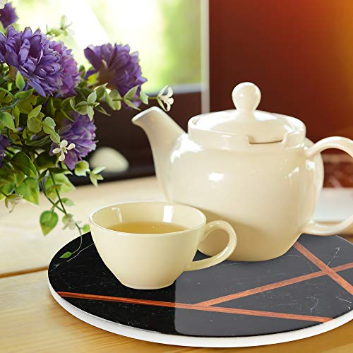 """LotFancy 2PCS Ceramic Trivets for Hot Pots and Pans, Heat Resistant, 7.87"""" in Diameter, Round Trivet Mats for Kitchen Countertop Table, Non-slip with Cork Base, Marble Pattern"""