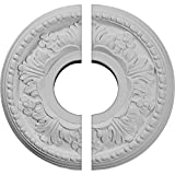 "Ekena Millwork CM11HE2 11 7/8""OD x 3 5/8""ID x 7/8""P Helene Ceiling Medallion, Fits Canopies up to 5-1/4"", 2 Piece"